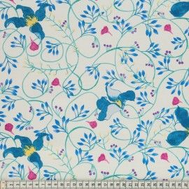 Tela DEE CLEMATIS TEAL by Mez Fabrics (Ancho 145 cms)